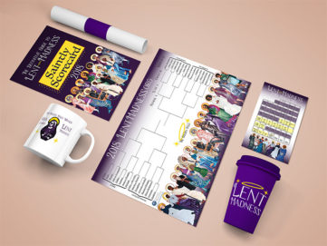 Lent Madness Redesign, Print Design, Merchandise, Poster, and Book Design