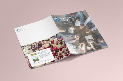 catalog covers on pink background