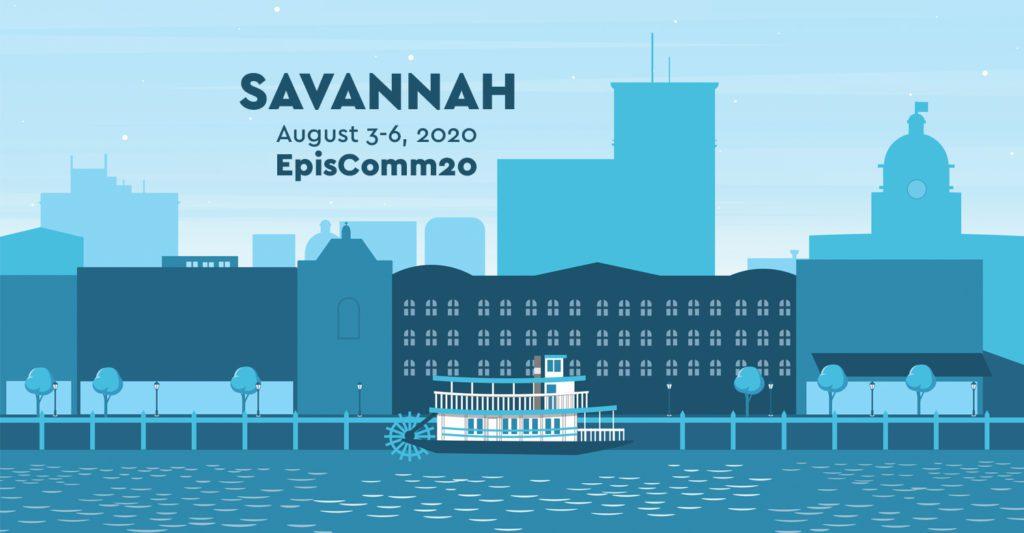 Illustration of Savannah, Georgia Skyline