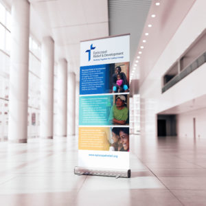 Promotional banner in a convention hall