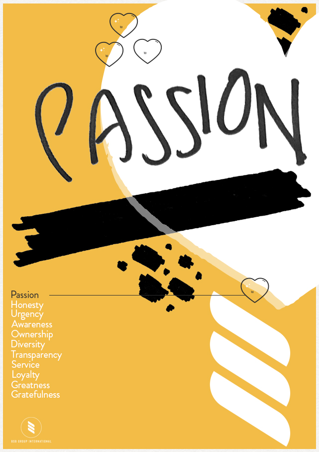 branded poster with hand drawing and lettering depicting passion