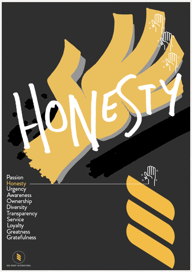 branded poster with hand drawing and lettering depicting honesty